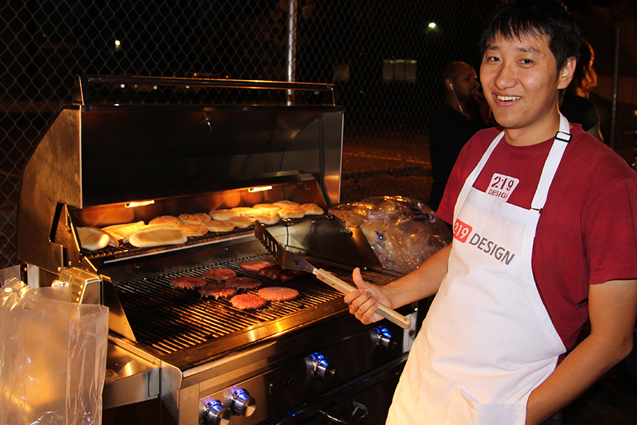 Kuan takes a break from grilling for a picture.