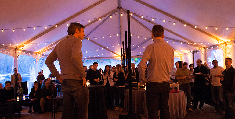 Larry and Dave giving a toast during the party.