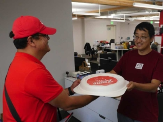 Zume delivering pizza to 219 Design, Mountain View